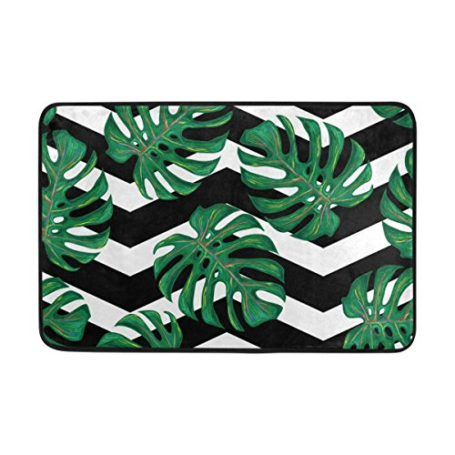 LORVIES Tropical Pattern With Monstera Leaves Doormat, Entry Way Indoor Outdoor Door Rug with Non Slip Backing, (23.6 by 15.7-Inch)