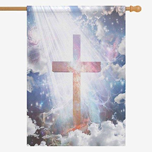 InterestPrint Religious Cross in Sparkling Light House Flag