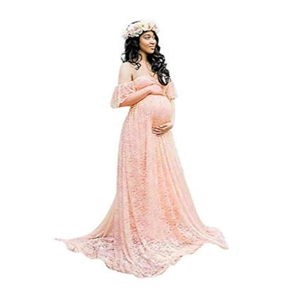 60013a809aabc Lace Floral Maternity Dress, Pregnant Women Off Shoulder Lace Long Maxi Dress  Gown Maternity Photography Prop at Amazon Women's Clothing store: