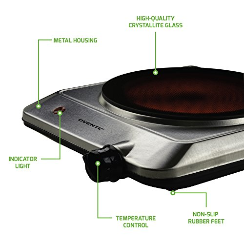 "Ovente Countertop Infrared Burner – 1000 Watts – 7.5"" Ceramic Glass Single Plate Cooktop with Temperature Control, Non-Slip Feet – Indoor/Outdoor Portable Electric Stove – Stainless Steel (BGI201S) by Ovente (Image #1)"