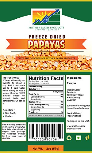 Mother Earth Products Freeze Dried Papayas (2 Cup Mylar) Review