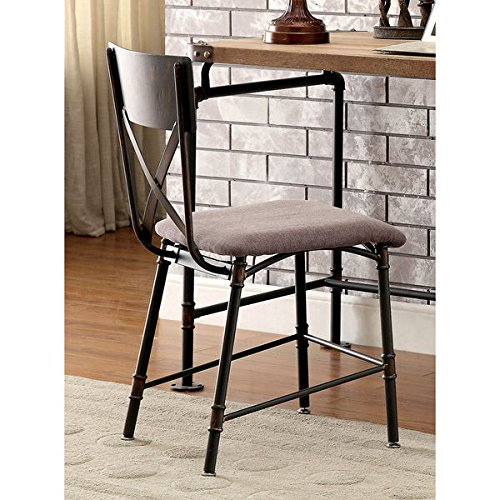 Furniture of America Herman Industrial Antique Black (Industrial Office Chairs)
