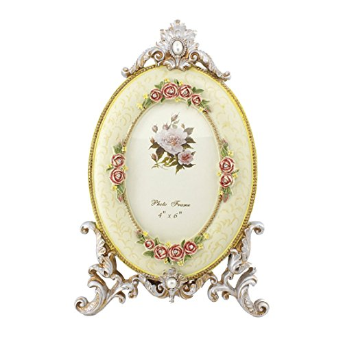 4x6 Inches Vertical Oval Floral Polyresin Picture Frame - Cheap Frames Oval