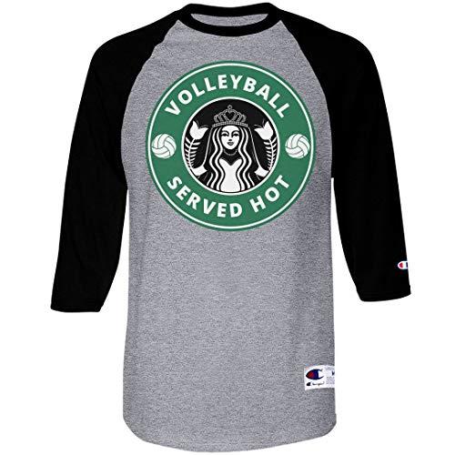 Volleyball Served Hot: Unisex Champion Raglan Baseball - Team Embroidered T-shirt Locker