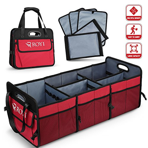 - Upgraded Car Trunk Organizer Collapsible Portable Cargo Storage with Tools Grips 3 Large Compartments and Upgraded Handle Trunk Organizer Compatible with SUV Car Truck Auto