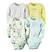 Carters Baby Boys 4-pack Long-sleeve Bodysuits (6 months, animals)