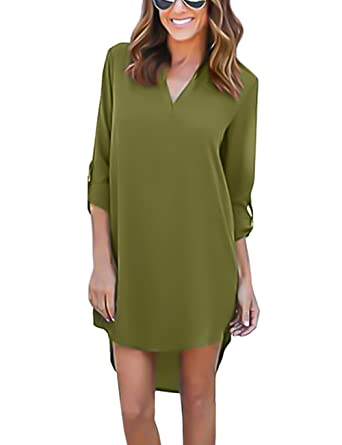 03c8ee6c62b ISASSY Chemisier Femme Manches 3 4 Robe Chemise Tunique Blouse Fluide Chic  - Vert armé