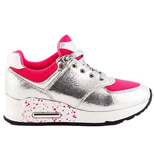 Toocool , Damen Sneaker, - bianco/rosa fluo - Größe: 40