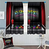Angoueleven Video Games Blackout Window Curtain Arcade Machine Retro Gaming Fun Joystick Buttons Vintage 80s 90s Electronic Customized Curtains Multicolor size:52''x63''