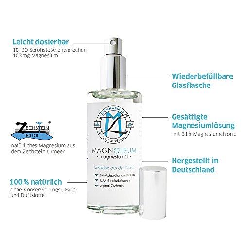 Aceite de magnesio puro, cloruro de magnesio de Zechstein, en botella de cristal, salmuera en diferentes tamaños: Amazon.es: Belleza