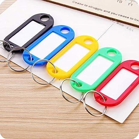 Porte-cl/és inscriptible en plastique avec anneau blanc rouge /Étiquettes interchangeables en noir vert jaune.