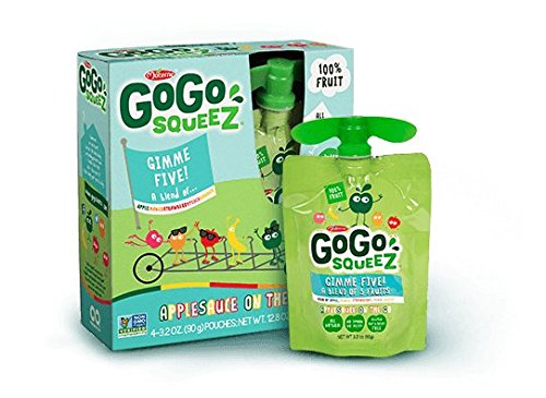GoGo squeeZ Applesauce on the Go, GIMME 5, 3.2 Ounce Portable BPA-Free Pouches, Gluten-Free, 4 Total Pouches by GoGo SqueeZ