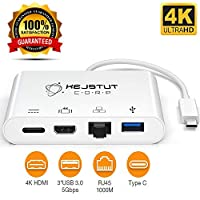 USB Type C Adapter – Multiport Adapter USB 3.0 Port Input – Includes HDMI, RJ45, UBS Type C Female Output – Supports PD Charging and Data – Wide Compatibility – 10cm Cable Length from KejstutCorp