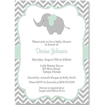 Chevron Elephant Baby Shower Invitation Mint Gray White Gender Neutral Unisex