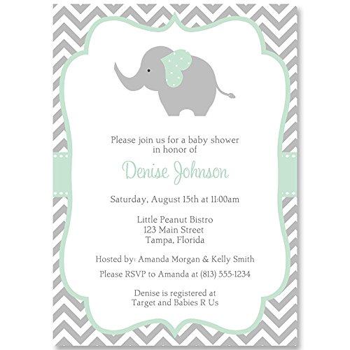 Elephant Baby Shower Invitation, Chevron, Mint, Gray, White, Team Green, Gender Neutral, Unisex, Baby Shower Invites, Invitations, Sprinkle, 10 Pack Custom Invites with Envelopes]()