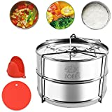 ZOEES Stackable Steamer Insert Pans 5/6/8 Quart Instant Pot Accessories - 18/8 Grade 304 Stainless Steel - Silicone trivet Mat & Mini Mitt Included
