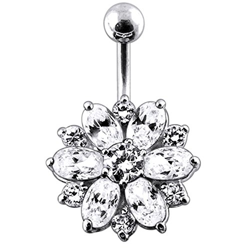 White Crystal Stone Fantasy Double Layer Flower 925 Sterling Silver with Stainless Steel Belly Button Navel Rings ()
