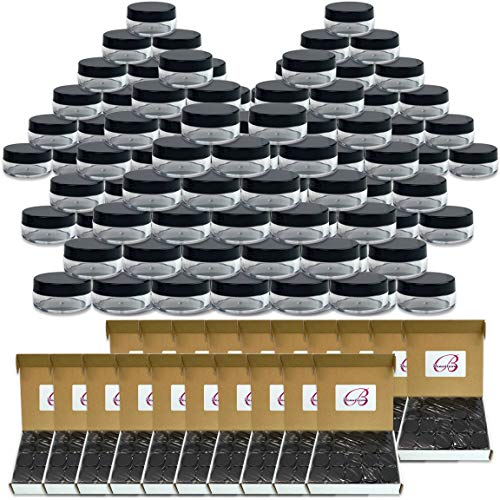 (Quantity: 1000 Pieces) Beauticom 10G/10ML Round Clear Jars with Black Lids for Cosmetics, Medication, Lab and Field Research Samples, Beauty and Health Aids – BPA Free