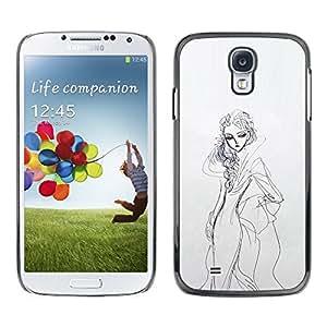 """For Samsung Galaxy S4 Case , Boceto del vestido de la mujer Dibujo Lápiz Moda"""" - Diseño Patrón Teléfono Caso Cubierta Case Bumper Duro Protección Case Cover Funda"""