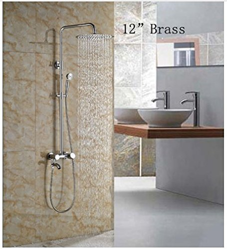 Gowe Wall Mounted 12-in Round Shower Set Bathroom Chorme Polish Faucet Mixer Faucet 0