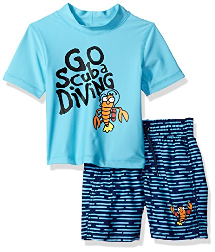 Kiko & Max Toddler Boys Set with Short Sleeve Rashguard Swim Shirt by KIKO & MAX