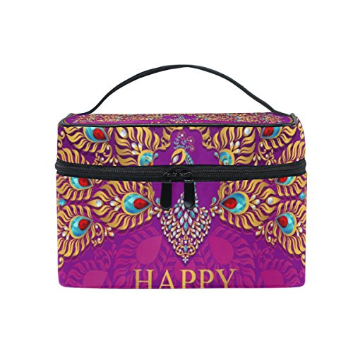 Cooper girl Happy Diwali Peacock Cosmetic Bag Travel Makeup Train Cases Storage Organizer by ALAZA