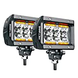 LED Pods MICTUNING Unlimited-GO K1 2Pcs 4 Inch 18W Off Road Flood LED Light Bar 1620lm with Amber Marker Light