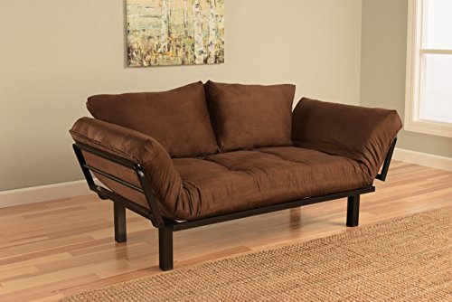 Best Futon Lounger Sit Lounge Sleep Smaller Size Furniture is Perfect for College Dorm Bedroom Studio Apartment Guest Room Covered Patio Porch Key Kitty Key Chain Included (Brown)
