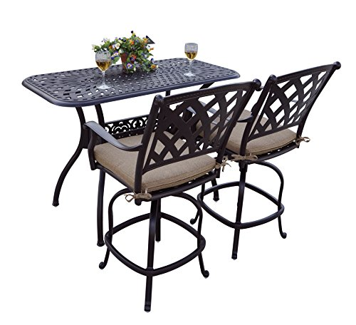 Darlee 3 Piece Ocean View Cast Aluminum Counter Height Bar Set with Seat Cushions, 26'' x 52'', Antique Bronze Finish