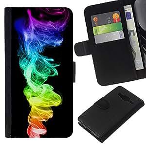 YiPhone /// Tirón de la caja Cartera de cuero con ranuras para tarjetas - Colorido humo de color 420 Weed - Samsung Galaxy Core Prime