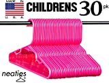 Neaties Children's Size Pink Plastic Hangers, USA Made Long Lasting Tubular Hangers, Set of 30