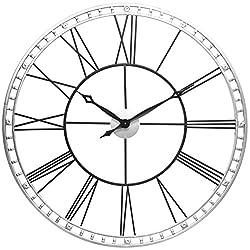 Infinity Instruments 15539BS-KD Metal Wall Clock, 39, Silver/Black