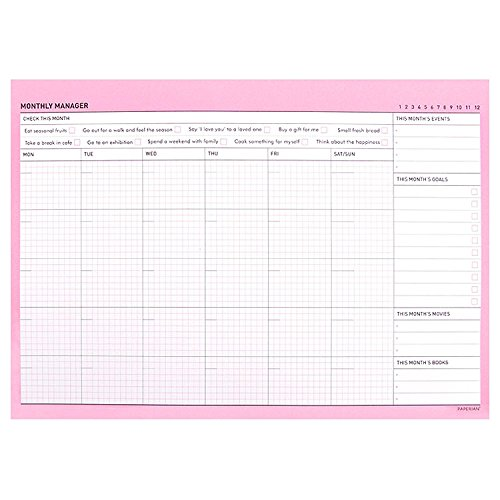 Lovely Desktop Monthly Planner Pad Notebook To Do List Notepad Monthly Scheduler Pad Desk Planner Desk Blotter, 50 Sheets/Pad, 11.7'' X 8.3'' (Pink) by b_odd supplies