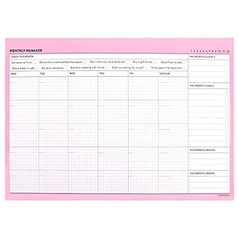 Amazon Com Lovely Desktop Monthly Planner Pad Notebook To Do List