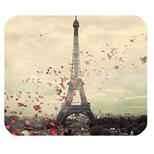 Generic Personalized Splendid Eiffel Towel and Flying Red Leaves for Rectangle Mouse Pad by icecream design