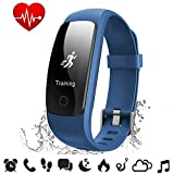 Fitness Tracker Heart Rate - COOLEAD ID107Plus HR Music Control Remote Shoot Activity Tracker - GPS Pedometer Sleep Monitor - Waterproof Bluetooth Smart Bracelet Wristband for Android IOS Phone(Blue)