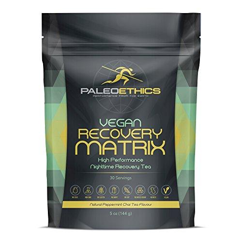 PALEOETHICS PE Sport Vegan Recovery Matrix High Performance Nighttime Recovery Tea Powder, Natural Peppermint Chai Flavor, 5 Ounce (30 Servings)