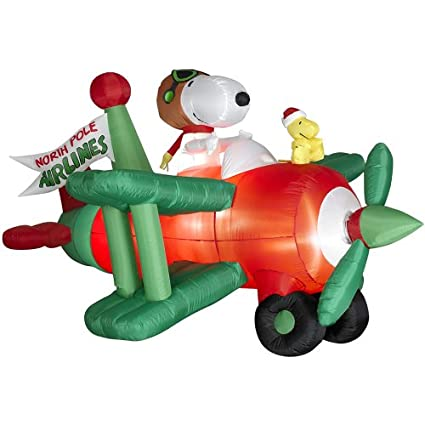 Amazon.com: Gemmy animados Snoopy en avión inflable, 3.6 ...