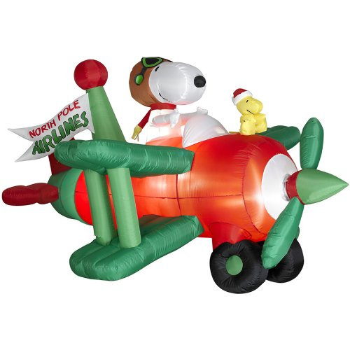 amazoncom gemmy animated inflatable snoopy in airplane 36 feet outdoor decor garden outdoor - Snoopy And The Red Baron Christmas Song