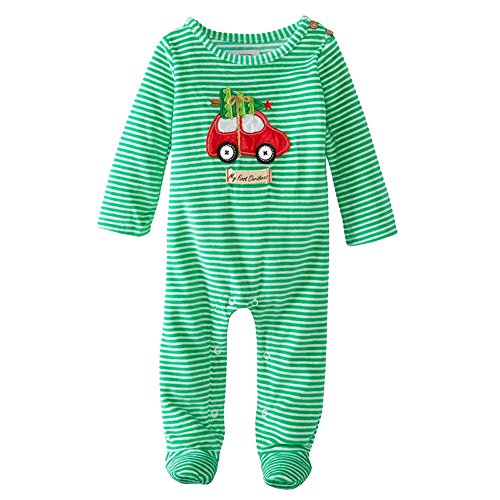 Dress Sleepy Organic (Batedan Unisex Baby Organic Cotton Long Sleeve Romper Green Stripe Santa Claus Sleepy Romper)