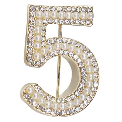 kockuu Number Five Brooch Pin, Fashion Gold Tone Pin Badge with Imitation Pearls and Crystal - Number 5