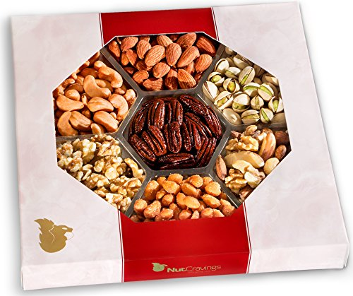 Nut Cravings Gourmet Nut Large Gift Tray with Striking Presentation - 7-Section Holiday or Anytime Assorted Nuts Gift Basket (Presentation Tin)