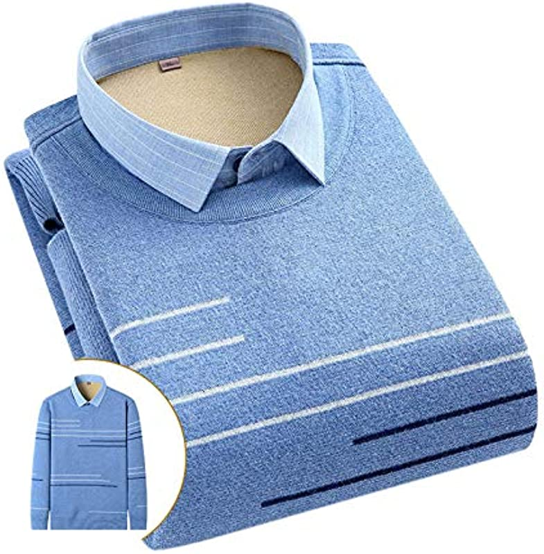 Elonglin Męskie Jungen Dicke Sweater Strick Pullover Hemd Langarmshirts mit Warmfutter Freizeit Slim Fit Blau 9 XS: Odzież