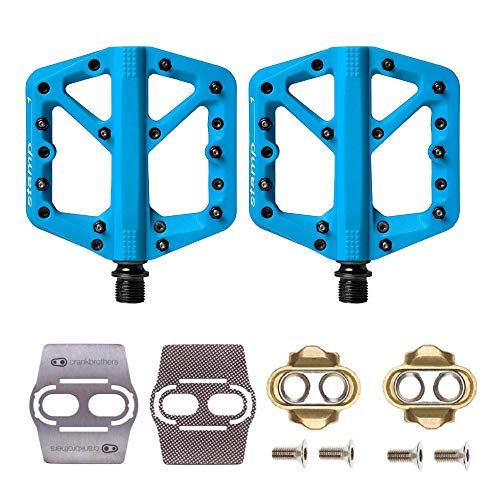 Crankbrothers Stamp 1 MTB Bike Pedals Pair (Blue/Large) with Premium Cleats and Shoe Shields Set