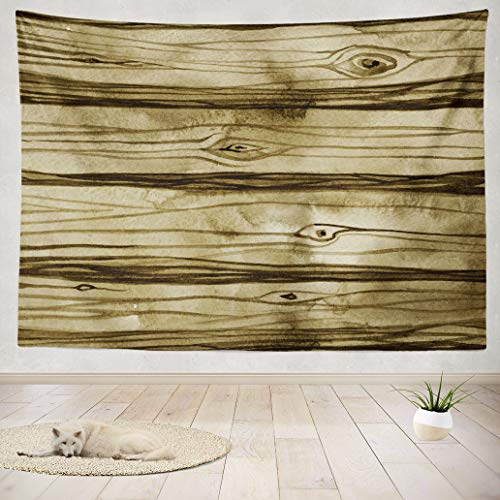 (ASOCO Tapestry Wall Hanging Watercolor Rustic Wood Tree Art Board Brown Color Floor Forest Wall Tapestry for Bedroom Living Room Tablecloth Dorm 80