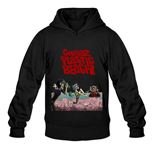 Soulya Men's Gorillaz Plastic Beach Art Hoodies Sweatshirt Size L US Black