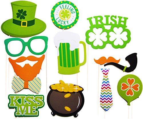 St Patrick's Photo Booth Props To Throw The Best Party Ever, 28 Pcs Attached, No DIY Required, Irish Day Mustaches, Creative Funny Colorful Disguise for Parties or Group (Toddler Halloween Ideas)