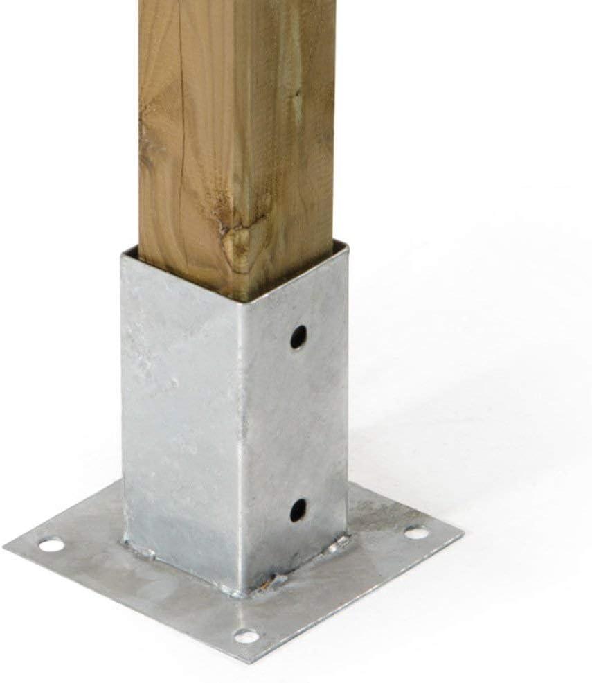 suporto Pilar 71 x 71, Puerta Pilar galvanizado a cálido. Placa anclaje para poste de madera: Amazon.es: Bricolaje y herramientas