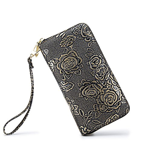 LOVESHE Women wallet ReliefRose Bronze color Bohemian wristlet Clutch wallets