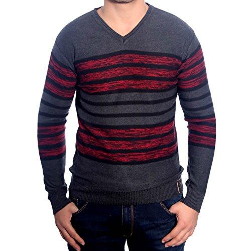 R-Neal RN-3154 Herren Pullover V-Neck Pulli Sweatshirt Jacke Hoodie T-Shirt Neu, Größe:XL, Farbe:Anthtrazit / Bordo